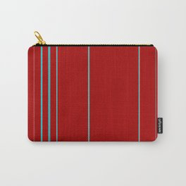 Modern Vertical Holiday Red Stripes Carry-All Pouch