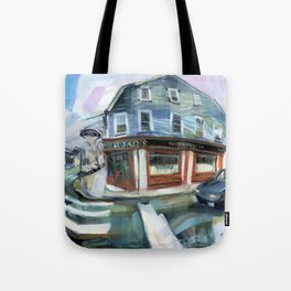 Aidan's of Newport on a wet spring afternoon, 1999 Tote Bag