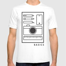Basics White SMALL Mens Fitted Tee