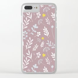 Floral Pattern 1 - PINK BACKGROUND Clear iPhone Case