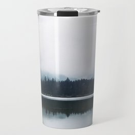 Minimalist Cold Landscape Pine Trees Water Reflection Symmetry Travel Mug