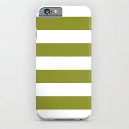 Dark Pastel Green Pepper Stem and White Wide Horizontal Cabana Tent Stripe iPhone Case