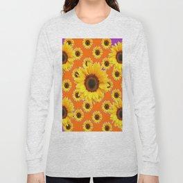 Purple-Orange Patterns Yellow Sunflowers Abstract Art Long Sleeve T-shirt