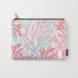 Modern hand painted coral pink teal reef coral floral Carry-All Pouch
