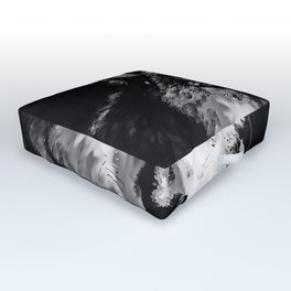 wolf splatter watercolor black white Outdoor Floor Cushion