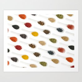 Spice Spoons on white Art Print