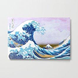 The Great Wave off the Shore of Kanagawa, Kanagawa oki nami ura, Restored Antique Ukiyo-e Color Japanese Woodblock Print Metal Print
