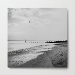 black and white Southwold beach photograph Metal Print