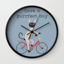 Siamese cat on bicycle Wall Clock