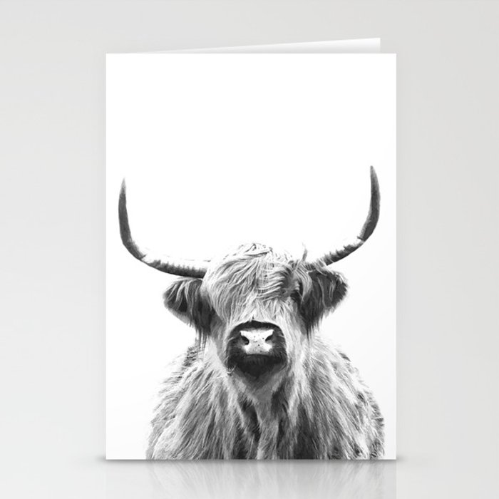 Black and White Highland Cow Portrait Stationery Cards