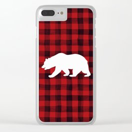 Red Plaid Bear Clear iPhone Case