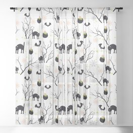 Happy Halloween vector pattern with scary cat poison witch and bat Sheer Curtain