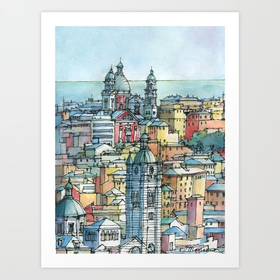 Perspective of Genoa, Italy Art Print
