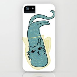 Whimsical Blue cat in a container funny face iPhone Case