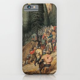 Renaissance Italy - people on a mountain path vintage painting iPhone Case