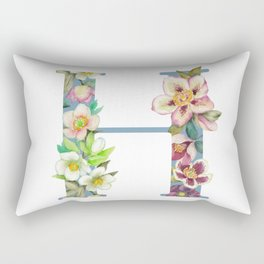 Floral Monogram Collection H Rectangular Pillow