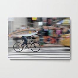Fish Biker Street Photo Metal Print