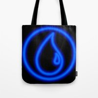 magic the gathering Tote Bags featuring Magic the Gathering, Neon Blue Mana by Thorn Blackstar