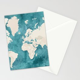Teal watercolor and light brown world map Stationery Cards