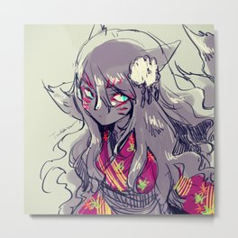 Fox girl sketch Metal Print