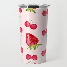 Strawberries Cherries Fiesta Pattern Travel Mug
