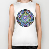 psychedelic art Biker Tanks featuring Mandala Psychedelic Art Design by BluedarkArt