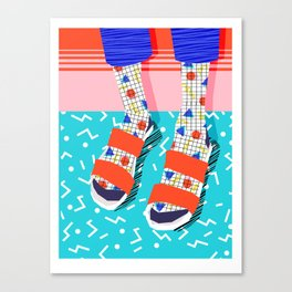 No Doi - memphis throwback retro classic style fashion 1980s 80s hipster shoes socks urban trendy Canvas Print