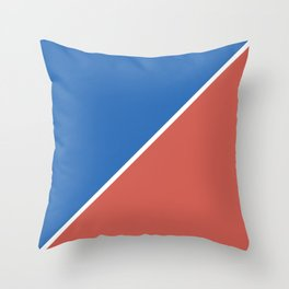 Fire Red & Mild Blue - oblique Throw Pillow