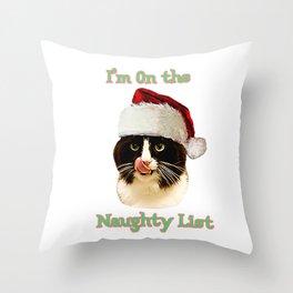 Naughty List Cat Throw Pillow