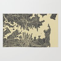 sydney Area & Throw Rugs featuring Sydney map by Map Map Maps