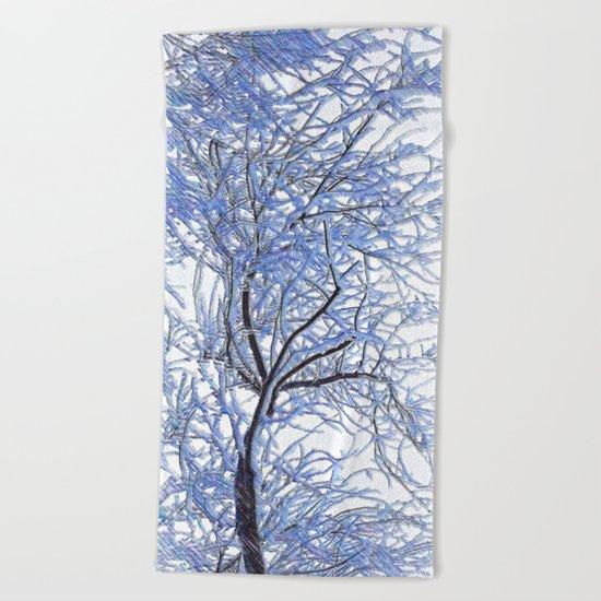 Snowy branches Beach Towel