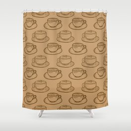 Rustic Shabby Chic Coffee Cups Shower Curtain