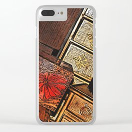 Tilted Wooden Boxes Clear iPhone Case
