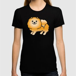 Orange Pomeranian Dog Cute Cartoon Illustration T-shirt