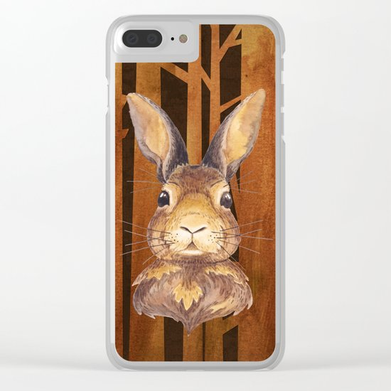 Rabbit in the forest- abstract animal hare watercolor illustration Clear iPhone Case