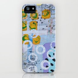 Magenta, Turquoise and Yellow Mixed Media Abstract iPhone Case