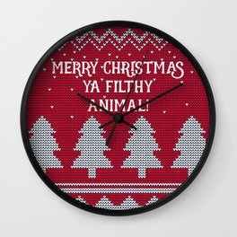 Merry Christmas ya filthy animal - red Wall Clock
