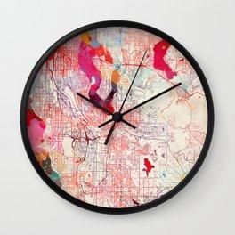 Renton map Washington painting Wall Clock