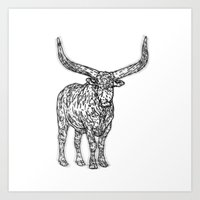 bull Art Prints featuring Bull by Takashi  Ariyoshi