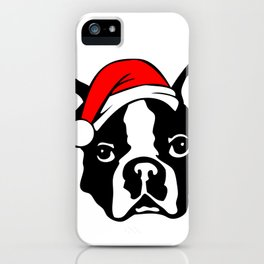 Boston Terrier Dog with Christmas Santa Hat iPhone Case