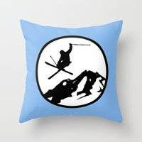 skiing Throw Pillows featuring Skiing by Paul Simms