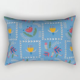 Heart of Silver – Blue Bell – Scandinavian Folk Art Rectangular Pillow