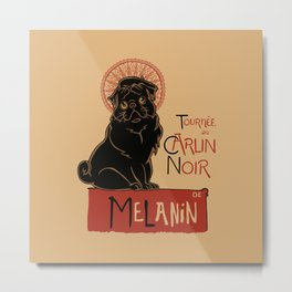 Le Carlin Noir (The Black Pug) Metal Print
