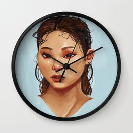 Red Eyes Portrait Wall Clock