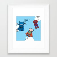 superheros Framed Art Prints featuring Superheros by oekie