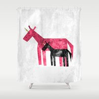 mom Shower Curtains featuring Thanks Mom by That's So Unicorny