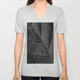 Black leaf with abstract patterns and details Unisex V-Neck