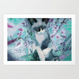 Nestled Kitten in Comforter Cloud Art Print