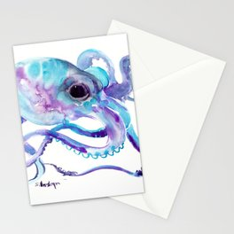 Octopus, Turquoise Blue purple art, Sky blue, Turquoise beach house design Stationery Cards