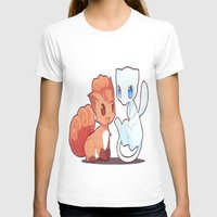 mew T-shirts featuring Chibi Vulpix and Mew by Yamilett Pimentel